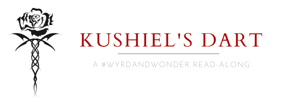 "Stylised rose to the right, next to text reading ""Kushiel's Dart: a Wyrd & Wonder Read Along"""