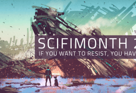 Banner image: Wreck of a spaceship in background, with man and dog in foreground