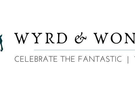 "Image on right: leaping pegasus in blue/purple, with text reading ""WYRD AND WONDER / Celebrate the Fantastic 