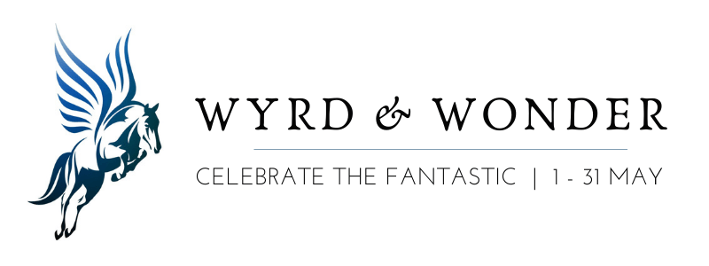 """Image on right: leaping pegasus in blue/purple, with text reading """"WYRD AND WONDER / Celebrate the Fantastic 
